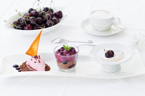 A trio of cherries, cherry ice cream, sorbet and vanilla foam