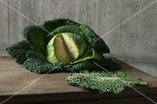 A sliced savoy cabbage