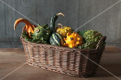 A basket of ornamental squashes