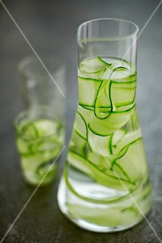 Cucumber water in a carafe