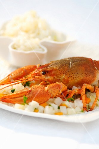 Cray fish on a bed of diced vegetables with a side of rice (Romania)