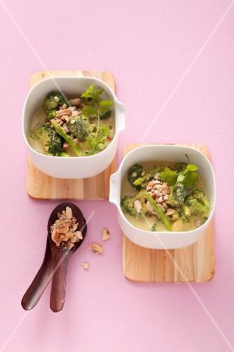 Asparagus and broccoli curry with peas