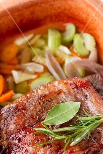Roast beef in a clay pot