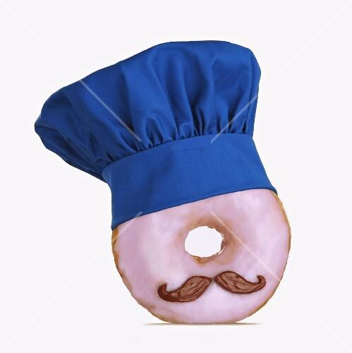 A doughnut wearing a chef's hat