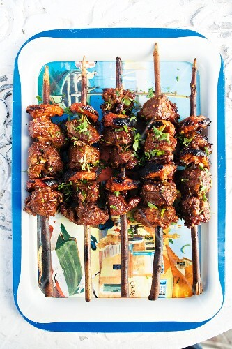 Grilled lamb kebabs with apricots