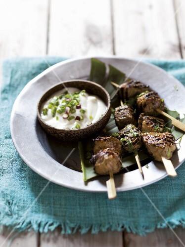 Tandoori lamb skewers with yoghurt dip