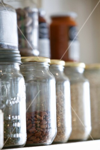 Storage jars on a shelf