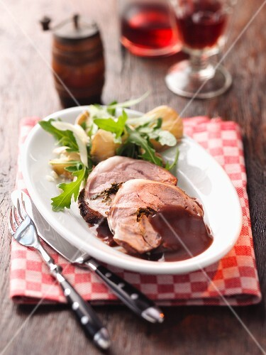 Roast lamb with a side salad