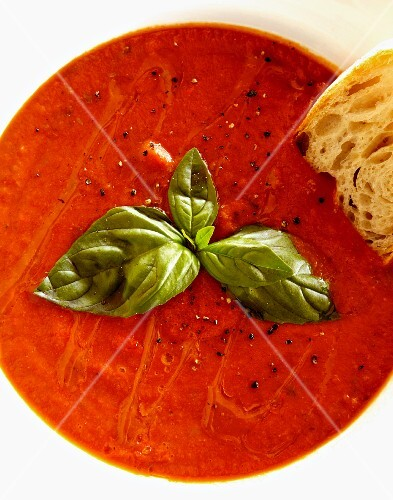 Tomato soup with basil (seen from above)
