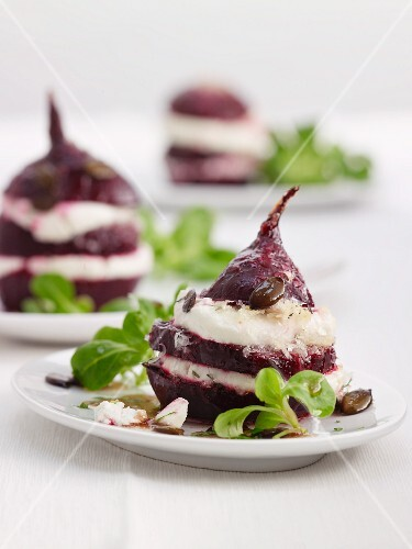 Roasted beetroot with sheep's cheese and lamb's lettuce
