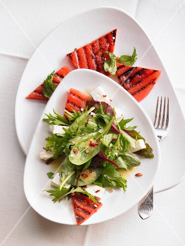 Herb salad with feta and grilled watermelon