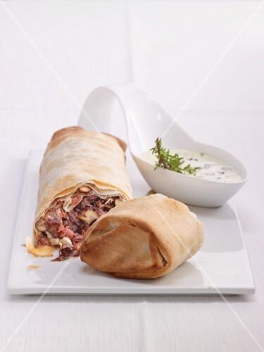 Radicchio strudel with salsiccia