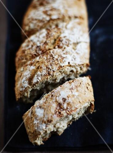 Homemade rustic bread, sliced
