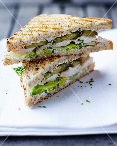 Toasted chicken and gherkin sandwiches