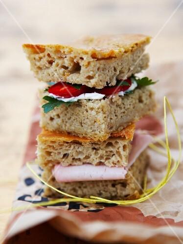 Ham, chilli pepper and parsley picnic sandwiches
