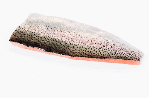 Salmon trout fillet with skin