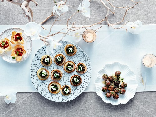 Various canapes on a Christmas buffet