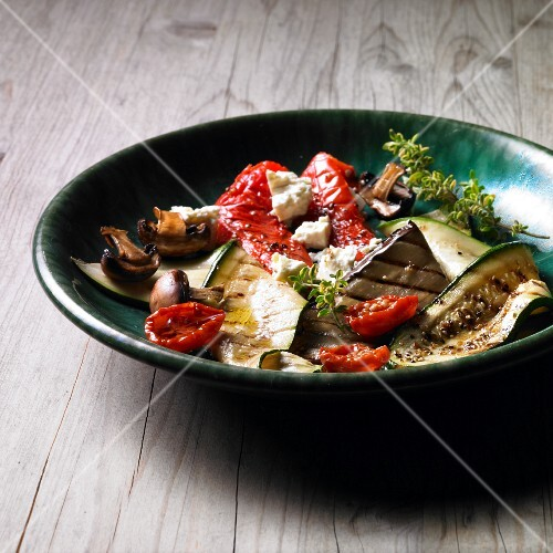 Anti-pasti platter with grilled vegetables and feta cheese