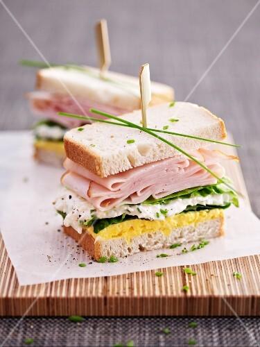 Egg salad and turkey ham sandwich