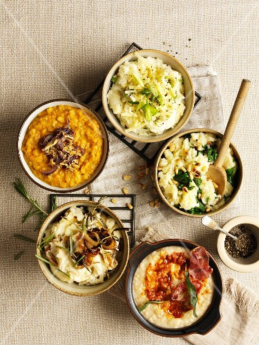 Lentil puree and various types of mashed potatoes