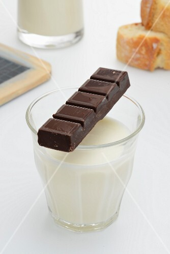 A glass of milk, chocolate and baguette