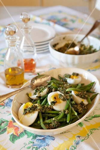 Green beans with eggs and salsa verde