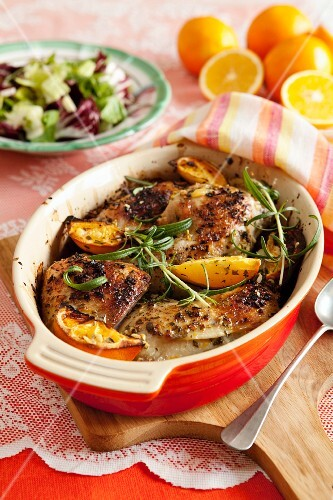 Chicken with orange and rosemary