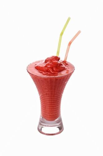 A raspberry shake with straws