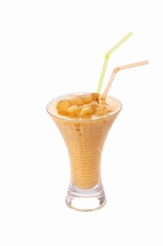 An orange ice cream shake