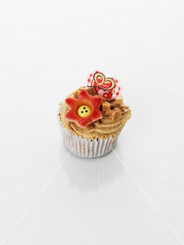 A caramel cupcake for Valentine's Day