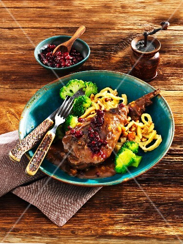 Braised leg of hare with lingonberry sauce, Spätzle (soft egg noodles from Swabia) and broccoli