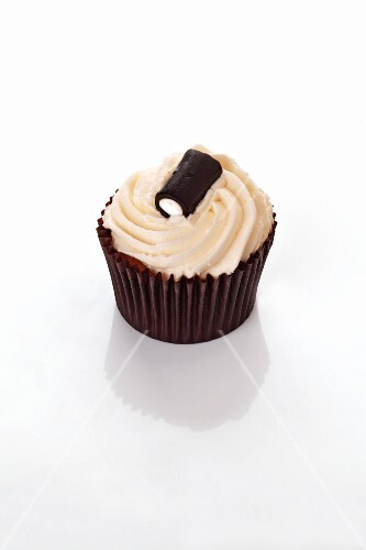 A cupcake decorated with a liquorice bonbon