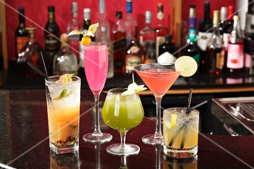 Various cocktails on a bar