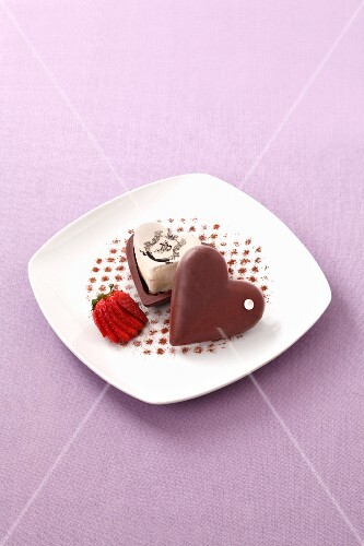 Vanilla ice cream with a chocolate heart
