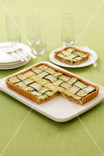 Courgette tart, sliced