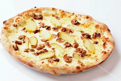 A potato and mushroom pizza