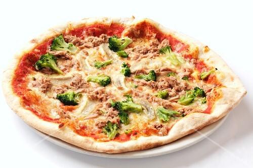 A broccoli and tuna pizza