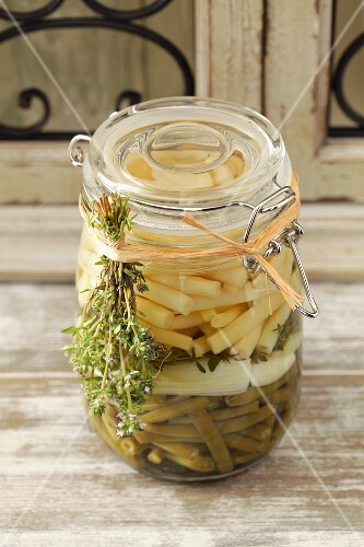 Green and yellow beans in vinegar