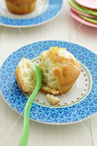 Lemon muffin, partly eaten