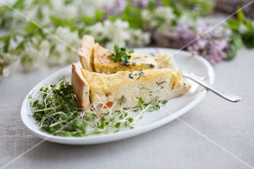 Spring vegetable quiche with cress