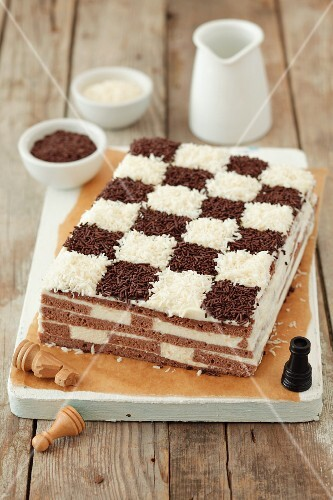 A chessboard cake (coconut and chocolate sponge cake)