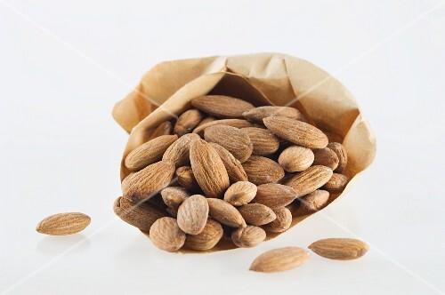 Almonds in a paper bag