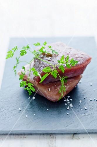 Tuna fillets and chervil
