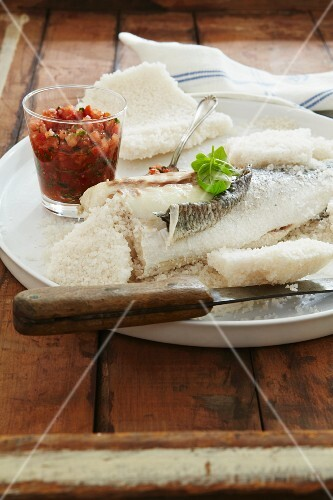 Sea bass in salt