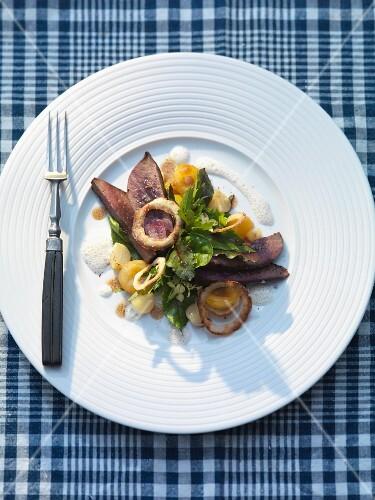 Salad with venison liver