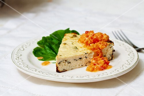 Ricotta bake with tomato pesto