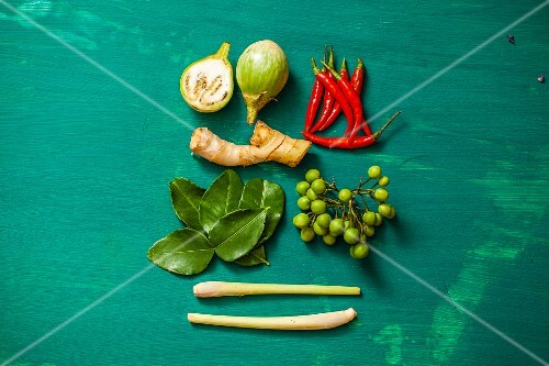 Ingredients for tom ka gai (Thai chicken and coconut soup)