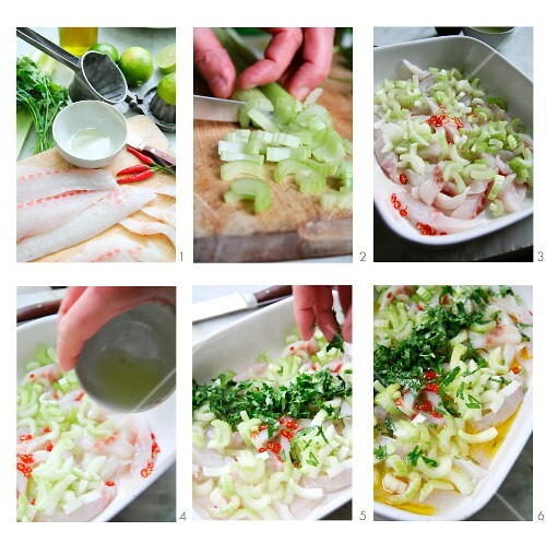 Ceviche with celery being made