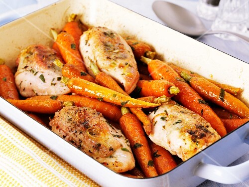 Oven-roasted chicken breast with carrots