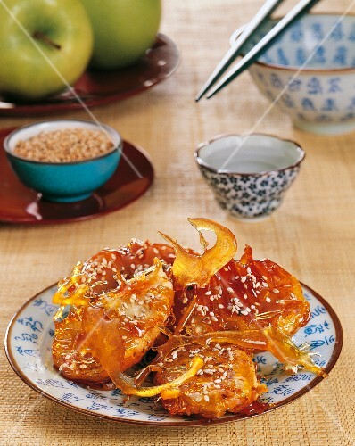 Baked, caramelised apple slices